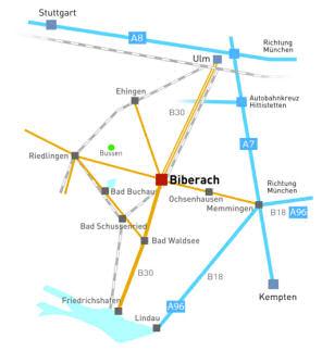 Anfahrtsskizze nach Biberach