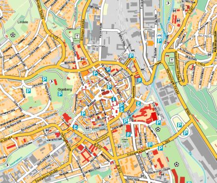Ausschnitt aus dem Stadtplan Biberach